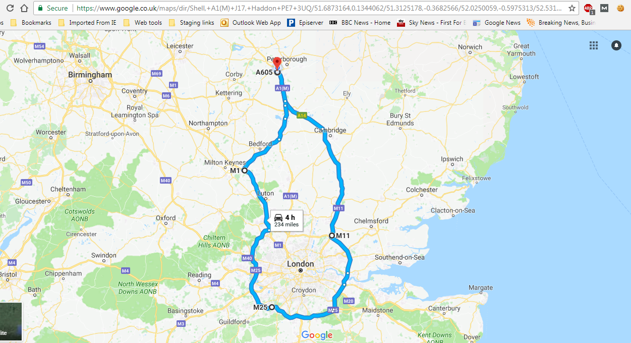 Toyota C-HR's eco route on Google Maps