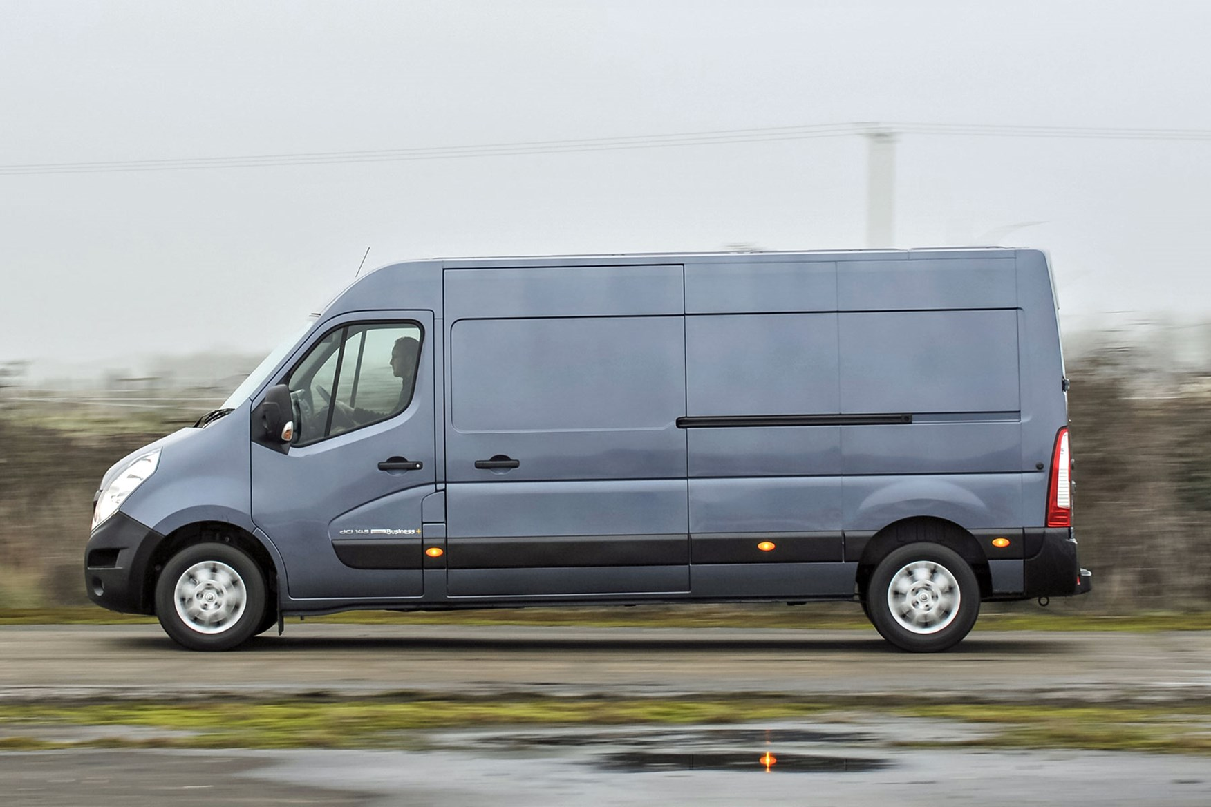 Renault Master review - 2016 model, side view, silver grey, driving