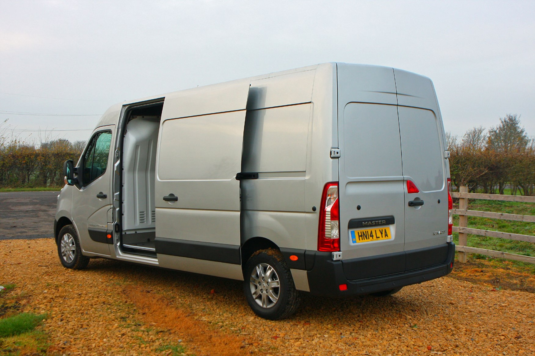 Renault Master Business 2016 review - rear view, silver, with sliding side door open