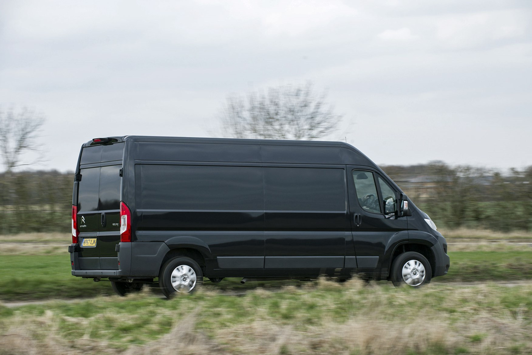 Citroen Relay review - rear side view, black, driving