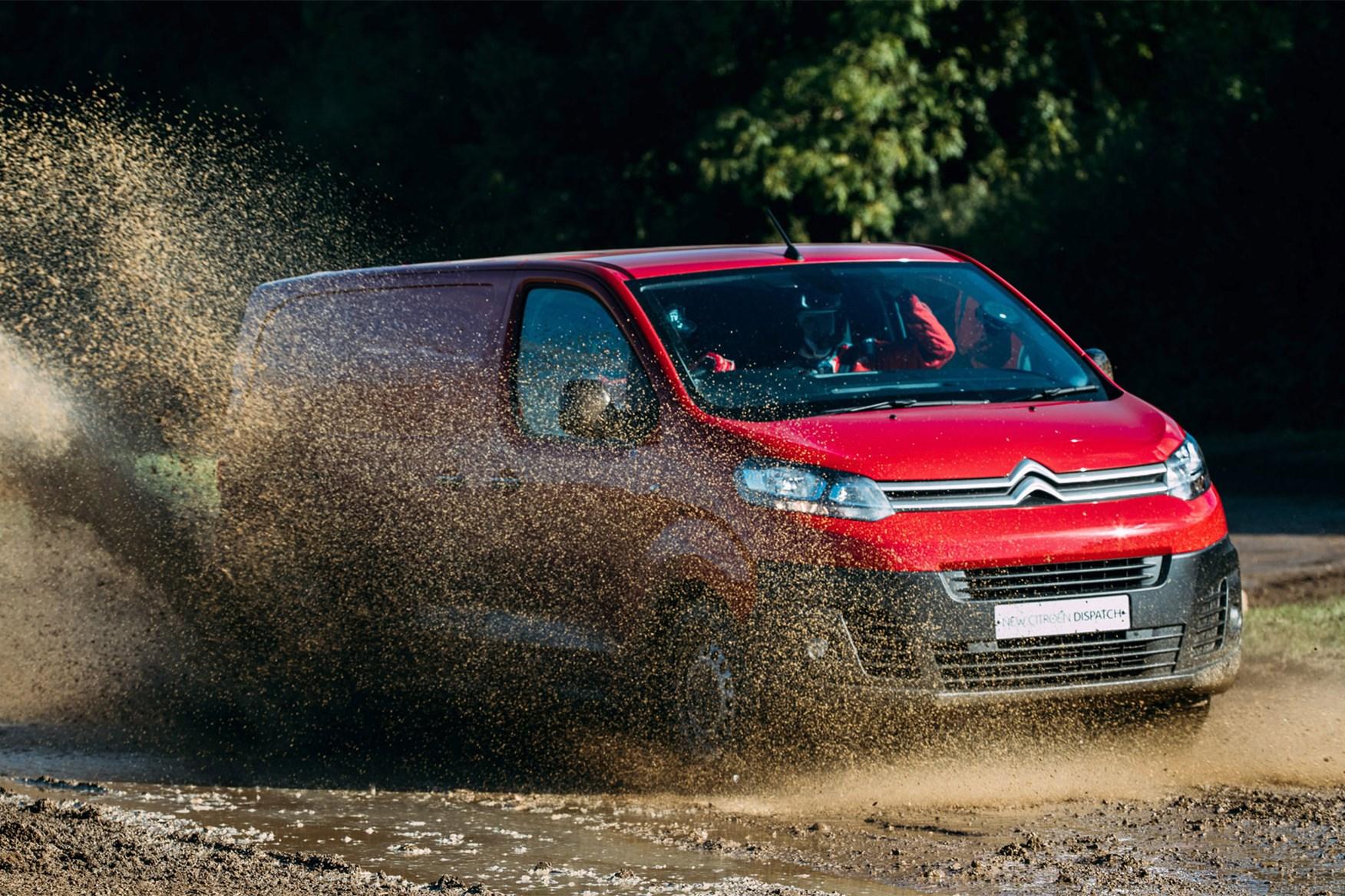 Citroen Dispatch review - front view, red, splashing through mud