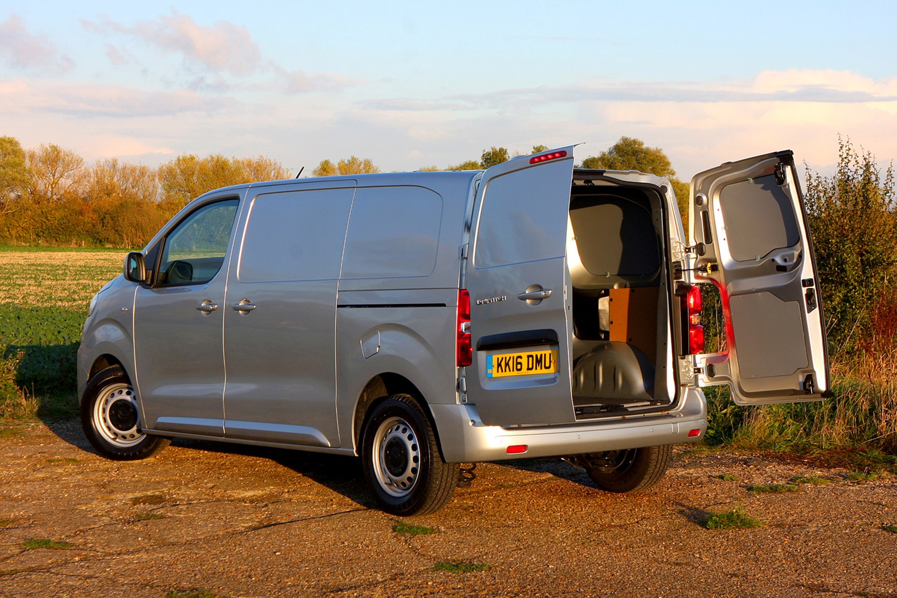 Citroen Dispatch review - rear view, silver, load area with doors open