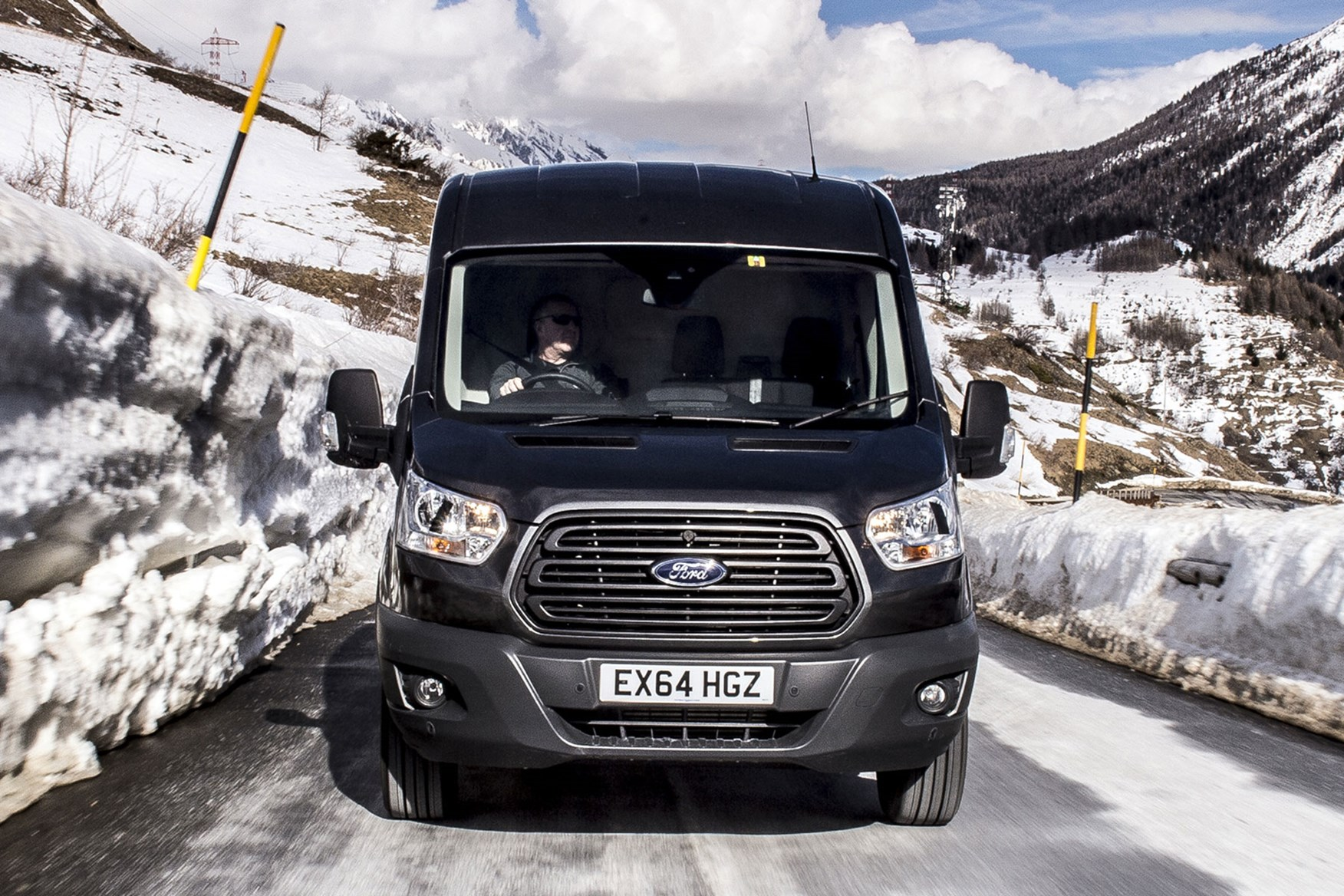 Ford Transit AWD review - front head-on view, driving