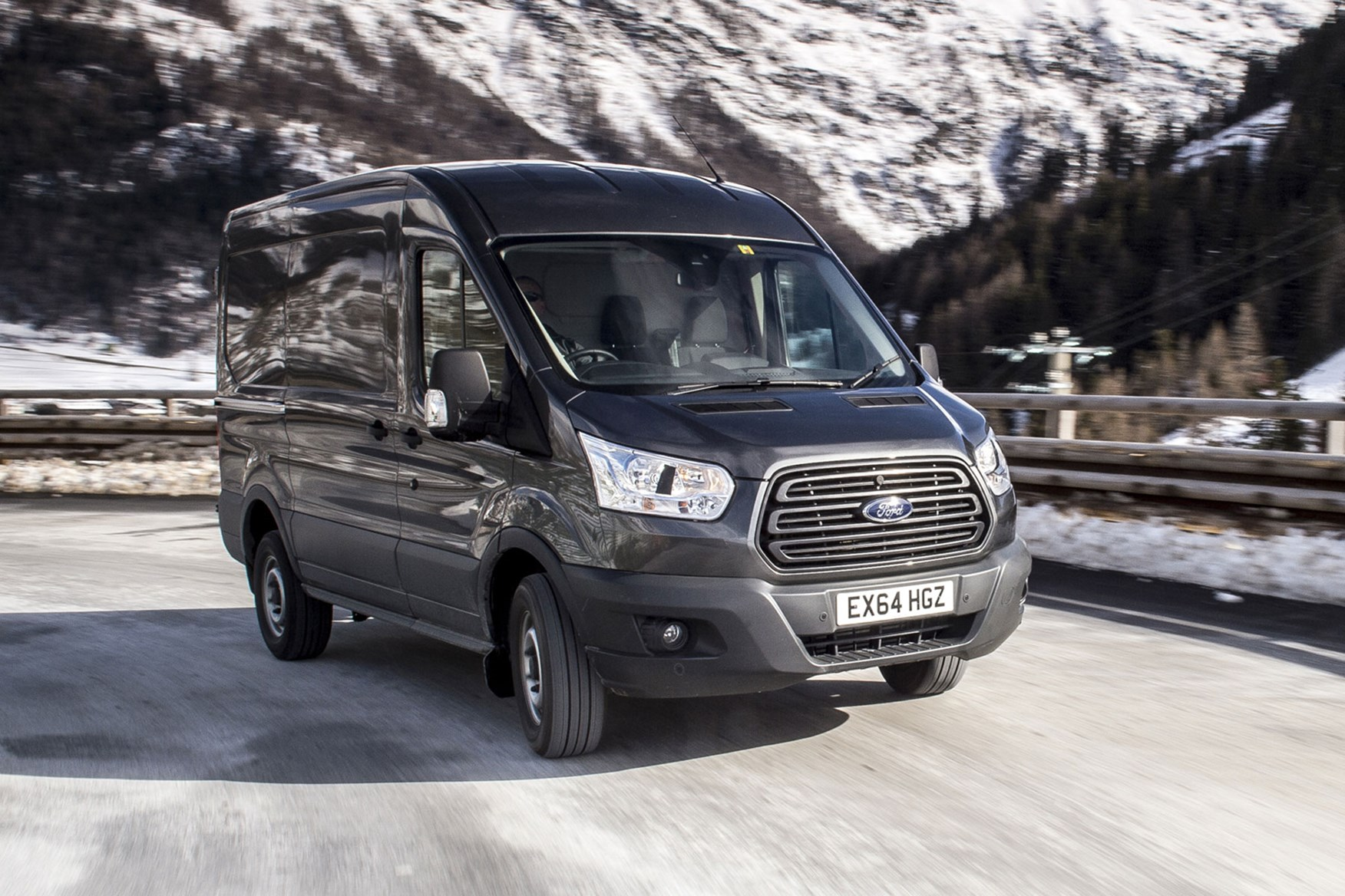 Ford Transit AWD review - front view, driving on icy road