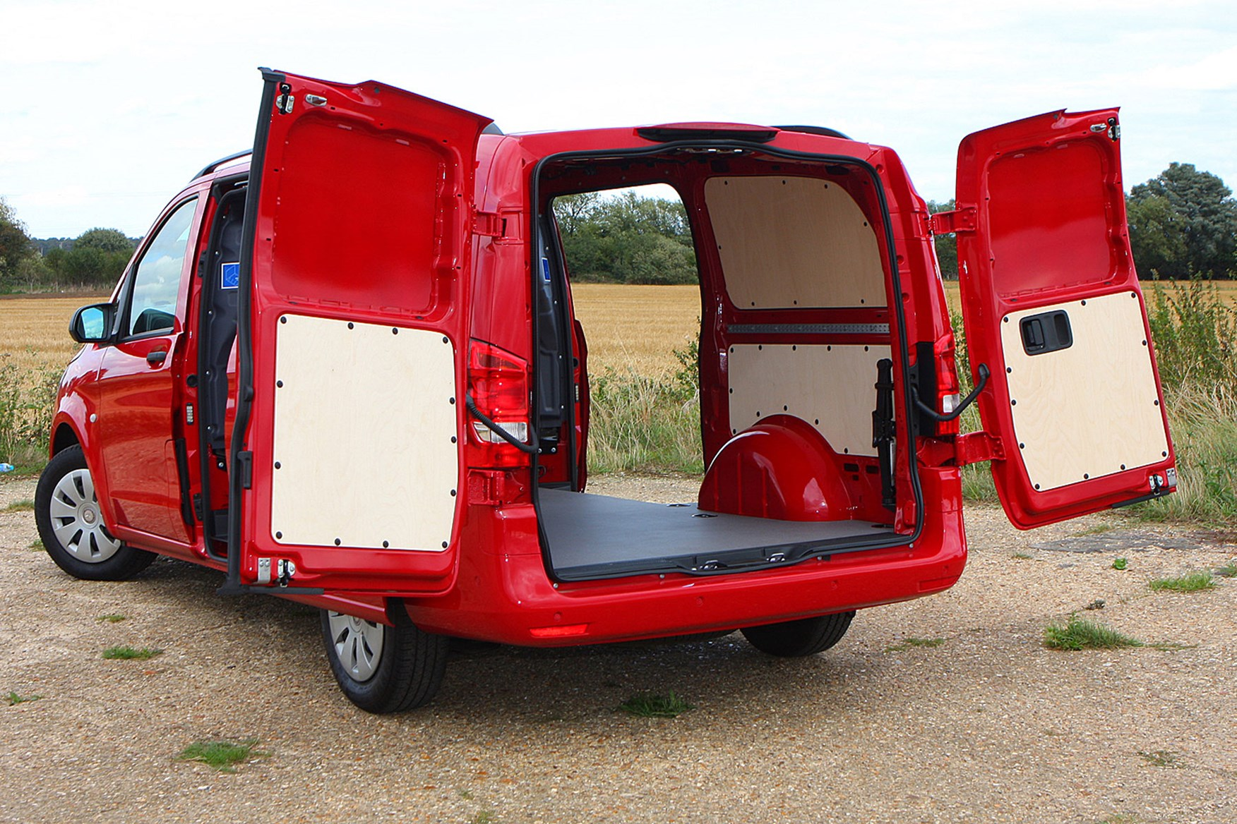 Mercedes-Benz Vito 111CDi Long review - load area, rear view, all doors open, red