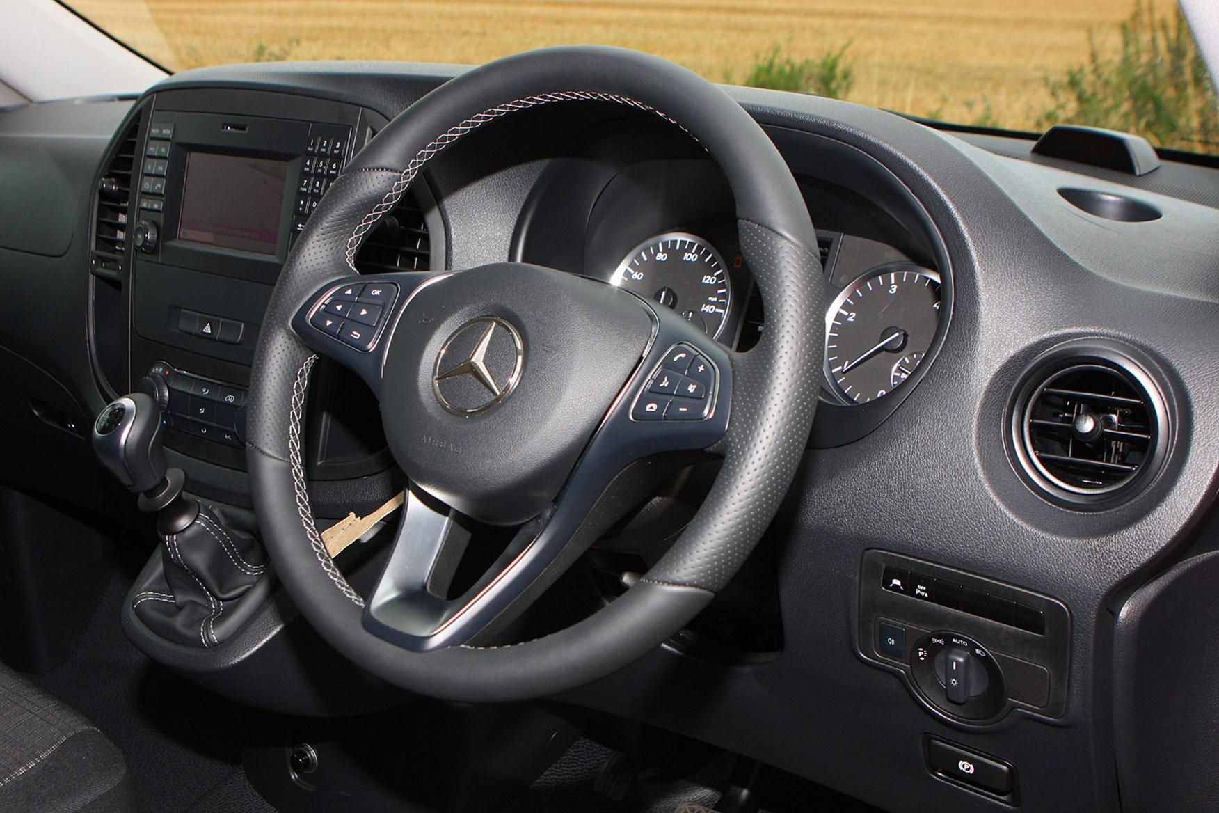 Mercedes-Benz Vito 111CDi Long review - cab interior, steering wheel, dashboard