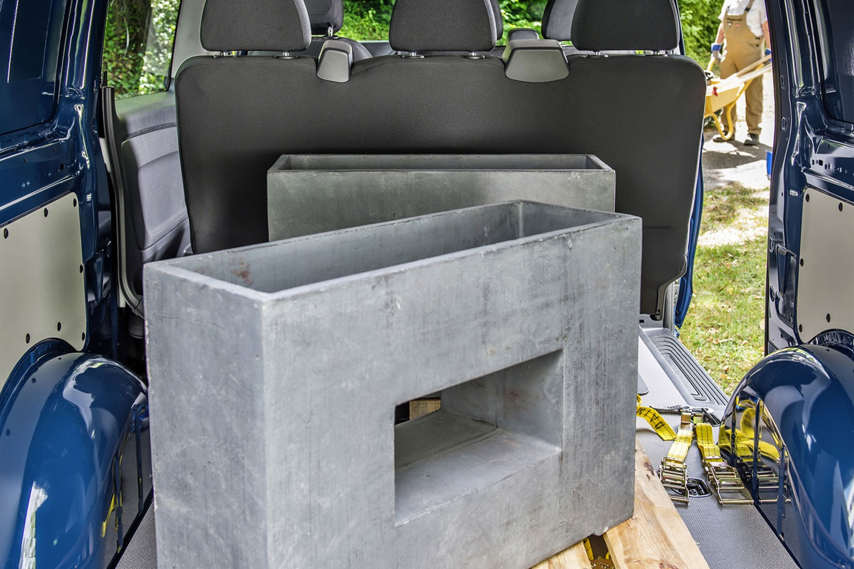 Mercedes-Benz Vito Sport review - load area with building supplies and open bulkhead