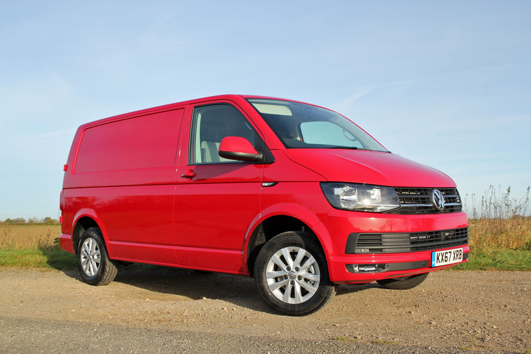 VW Transporter T6 TSI 150 review - front view, red