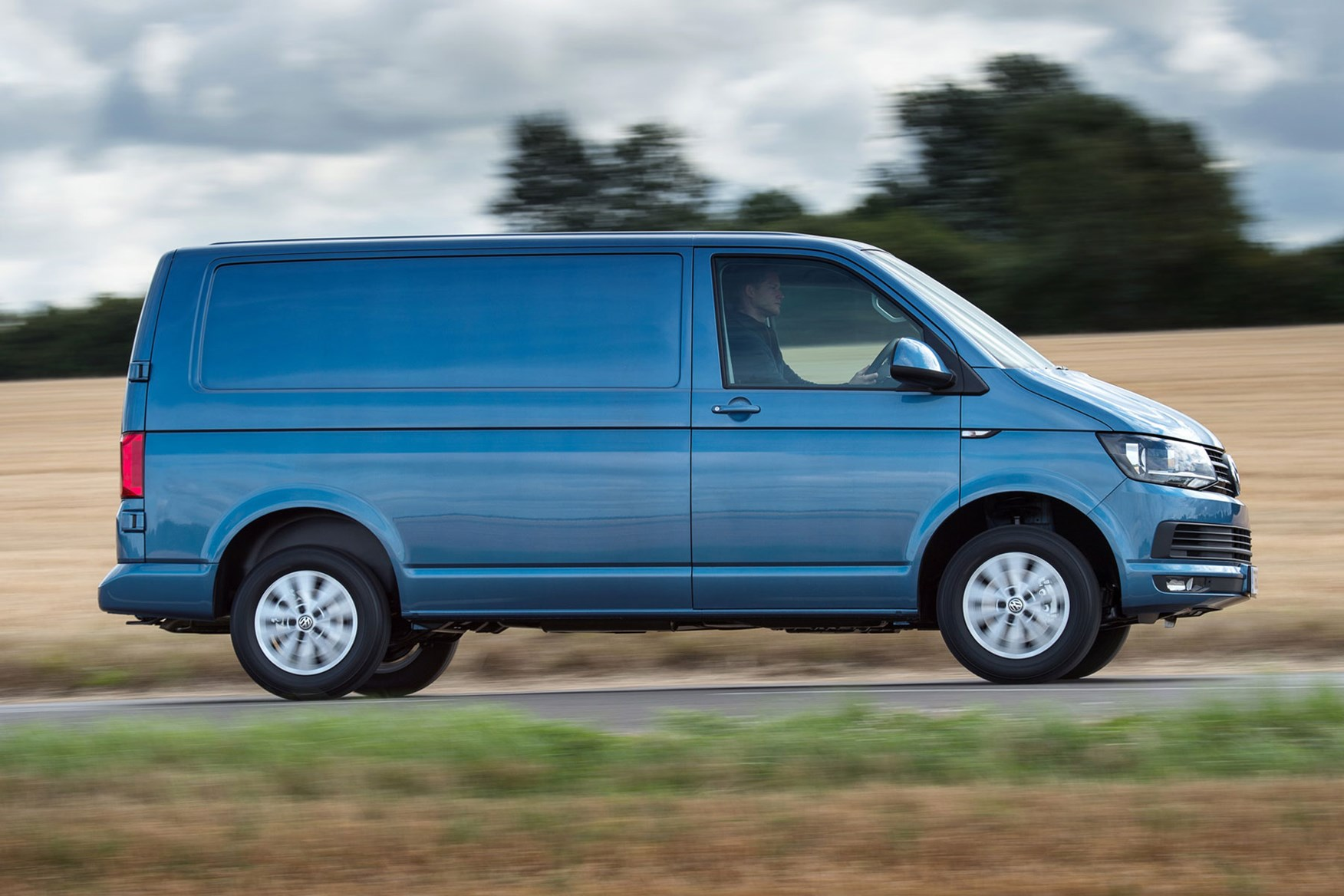 VW Transporter T6 SWB Low roof, driving, blue