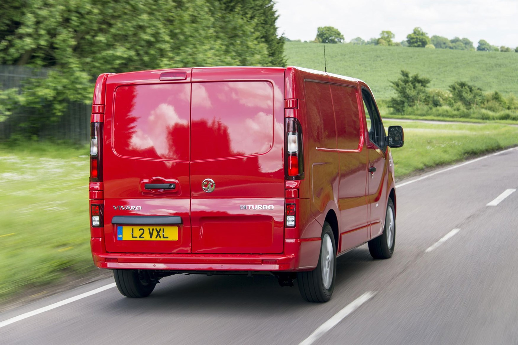 Vauxhall Vivaro review - red, rear view, driving