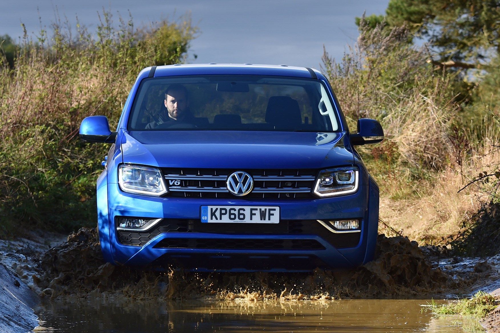 VW Amarok V6 Aventura 224hp review - front view, driving off road, blue