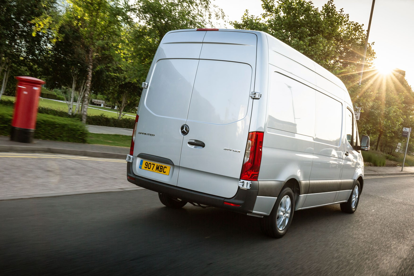 Mercedes Sprinter (2018-on), rear view, silver, UK, driving