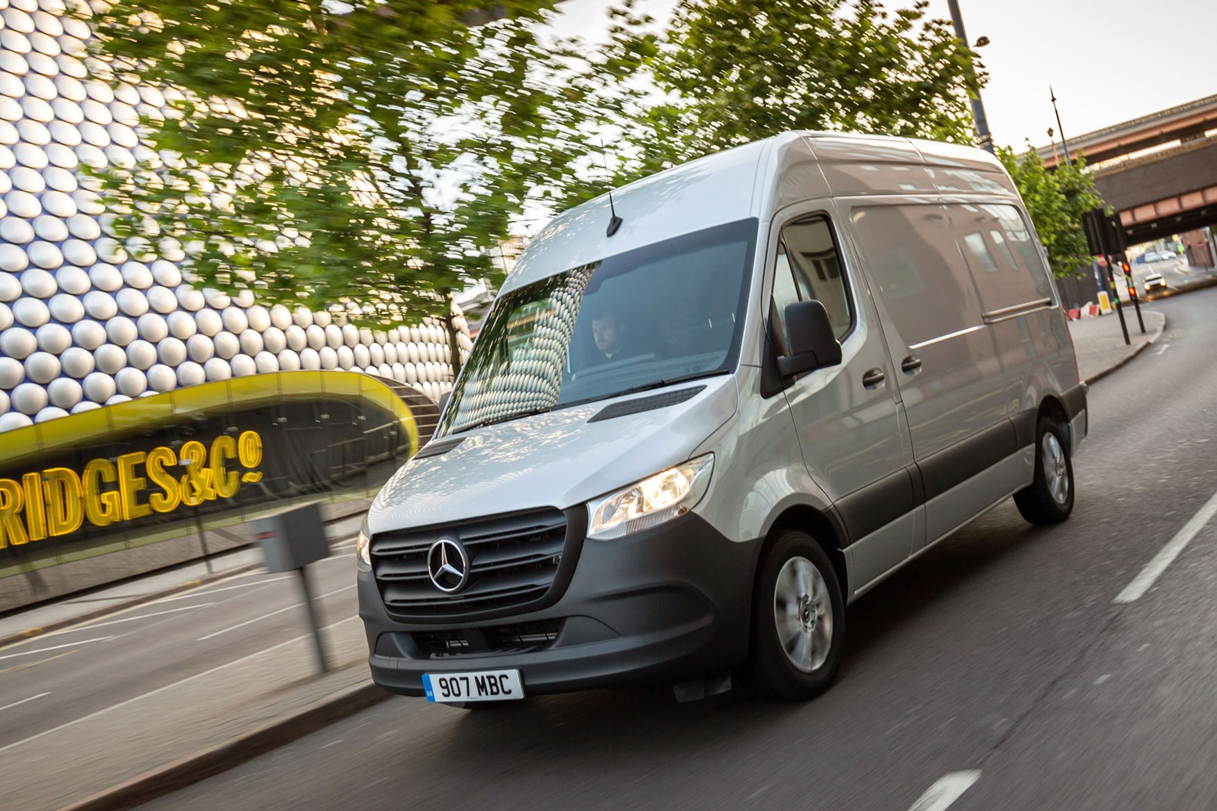 Mercedes Sprinter (2018-on), front view, silver, UK, driving