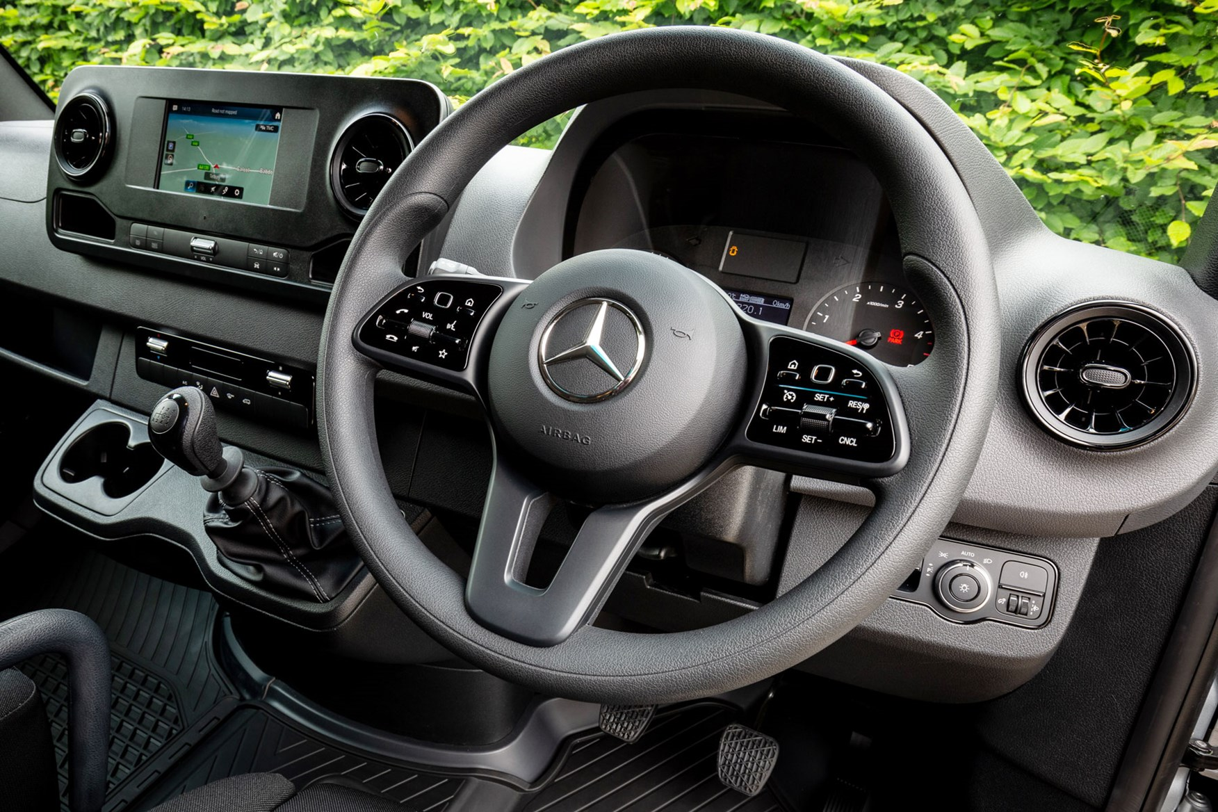 Mercedes Sprinter (2018-on), cab interior UK right-hand drive steering wheel close up