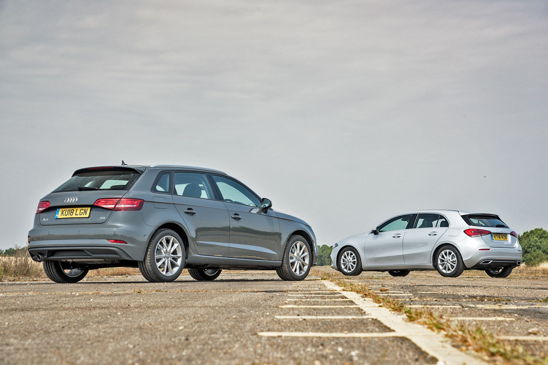 Audi A3 and Mercedes A-Class rear