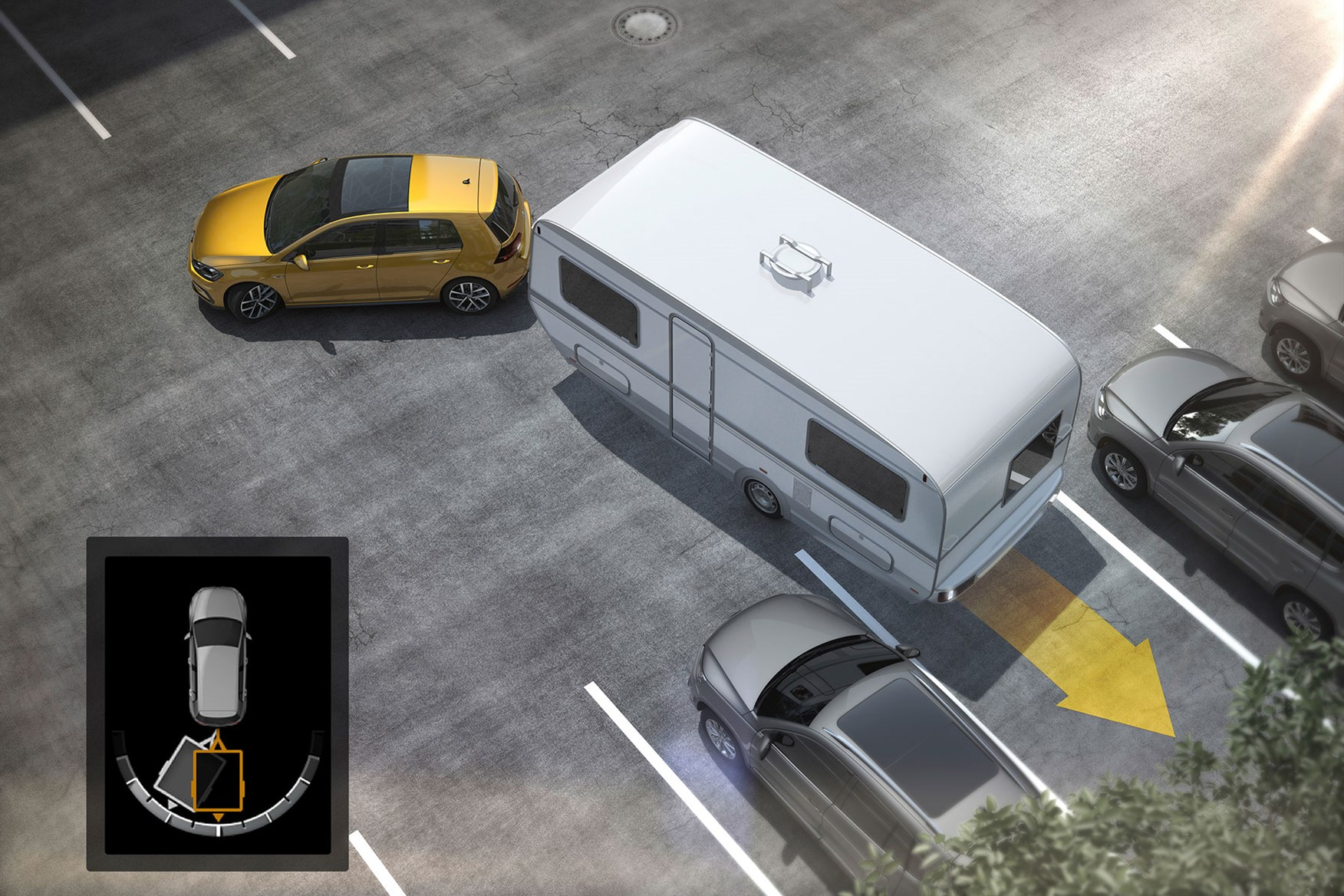Modern trailer assist systems aid parking with caravans