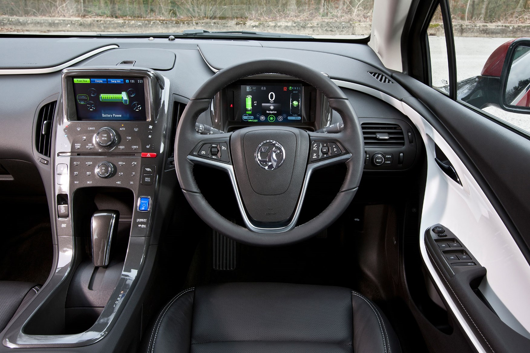 2014 Vauxhall Ampera dashboard, white accents, touch sensitive controls, Electron or Positiv trim