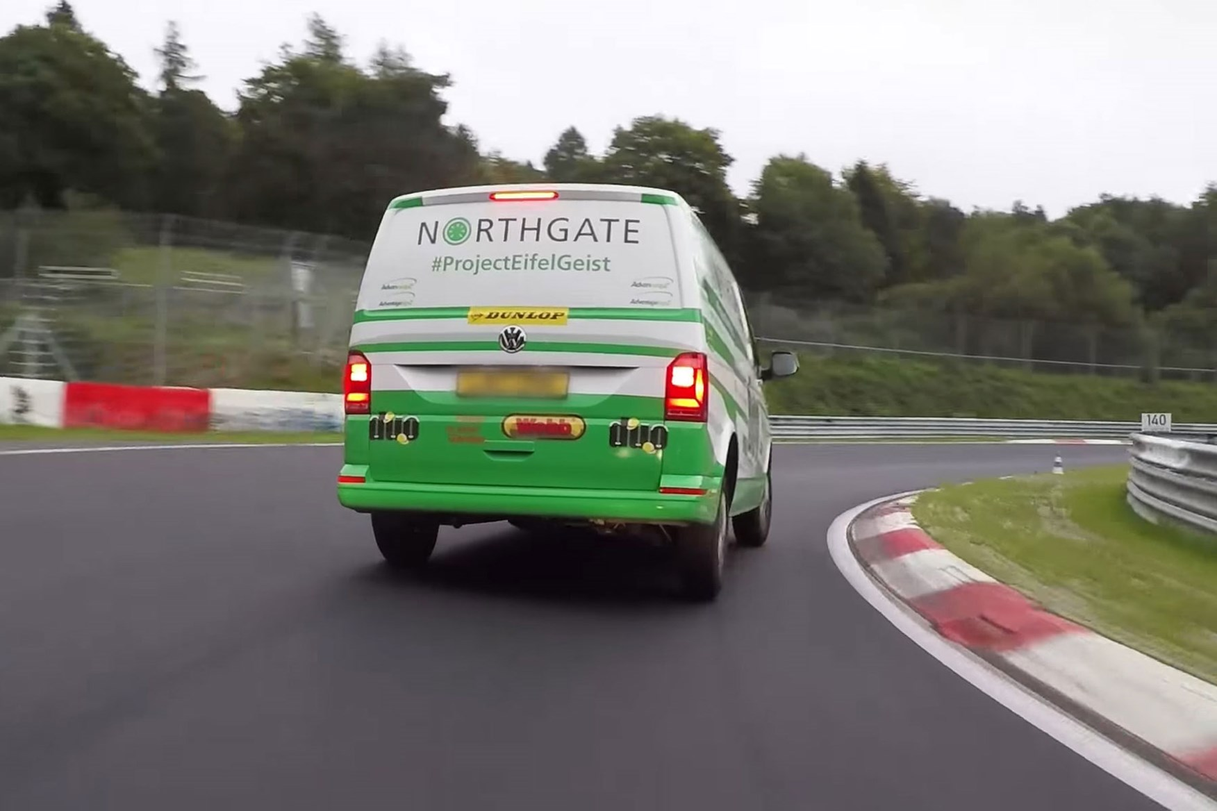 Vw transporter rental van sets new nurburgring record video parkers vw transporter takes on the nurburging on track rear view publicscrutiny Images