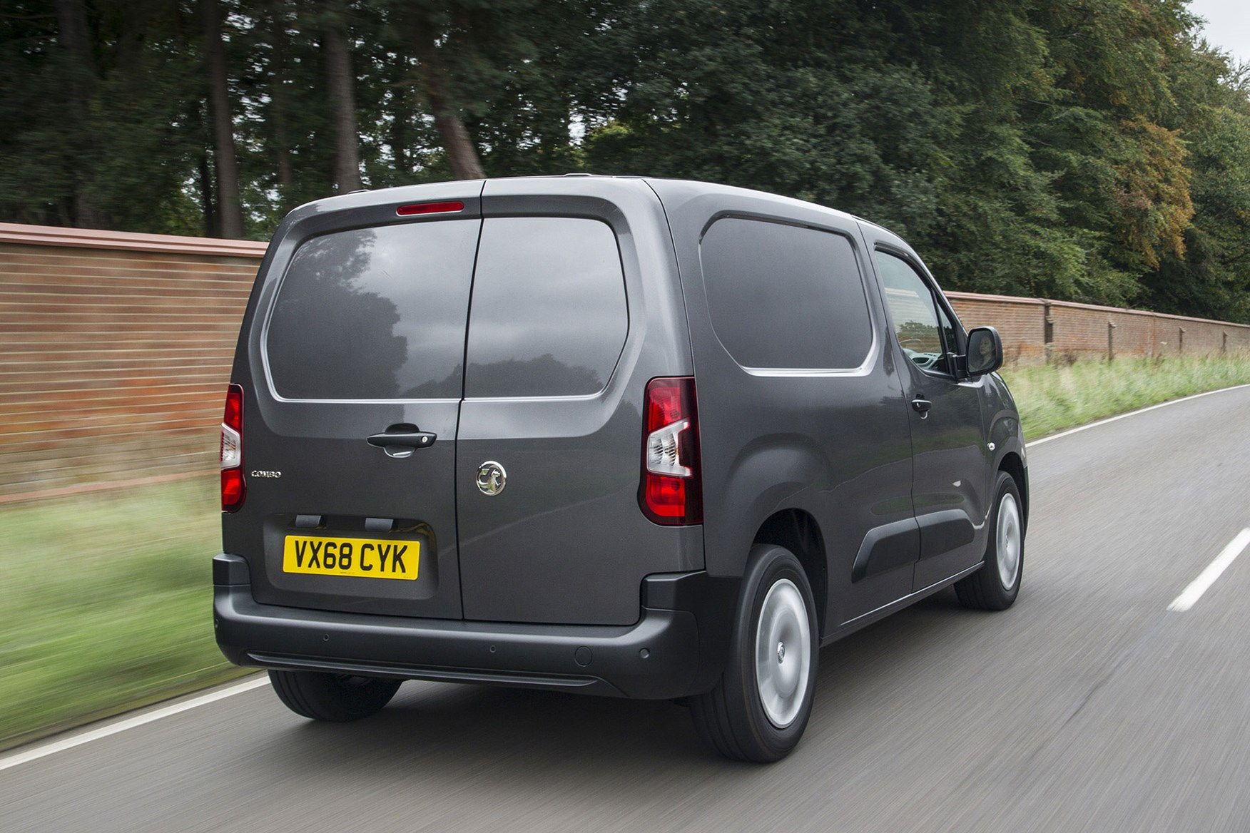 Vauxhall Combo 2019 review - grey, rear view, driving