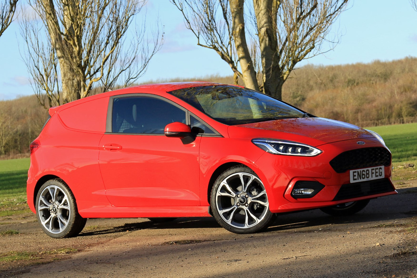 Ford Fiesta Sport Van review - front view, red