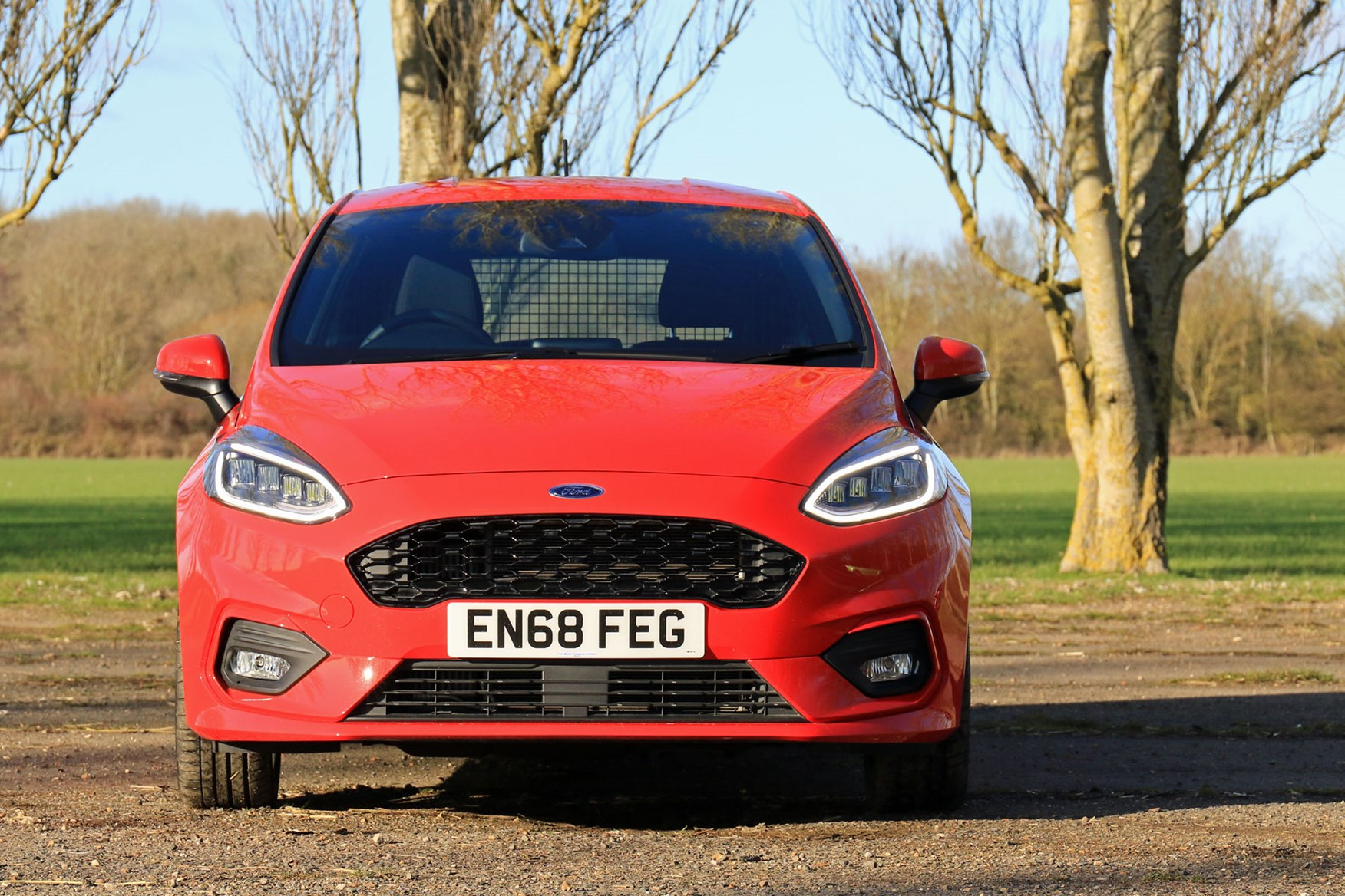 Ford Fiesta Sport Van review - front view, head-on, red