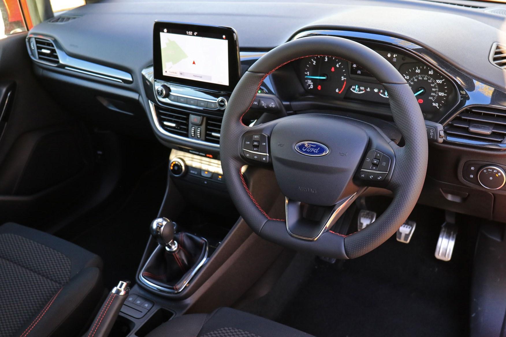 Ford Fiesta Sport Van review - interior, steering wheel, dashboard