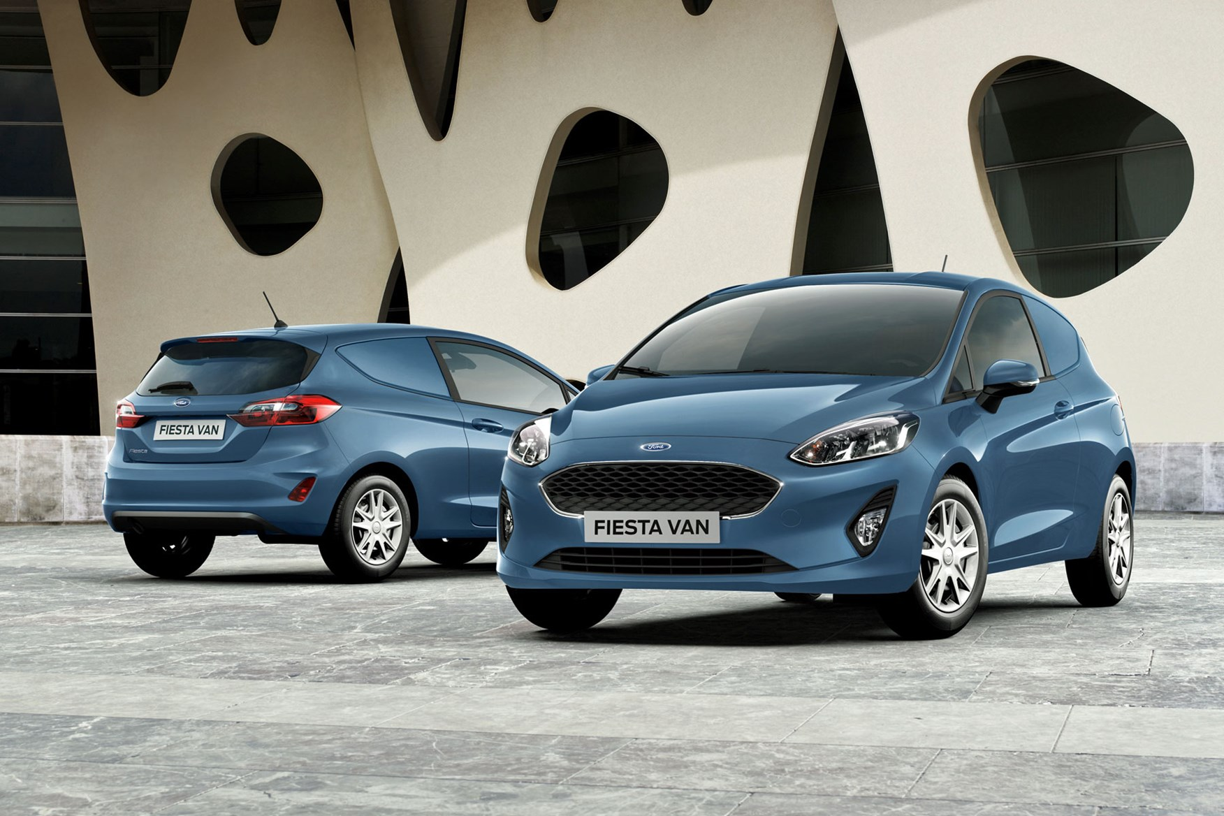 Ford Fiesta Van - front and rear view, blue