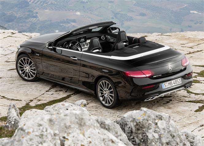 C Cl Cabriolet Black Roof Open Rear