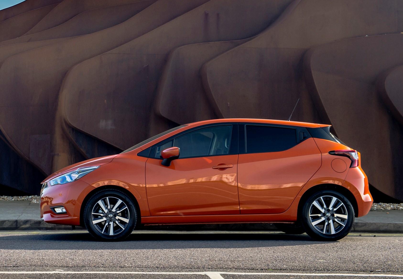2017 orange Nissan Micra side on