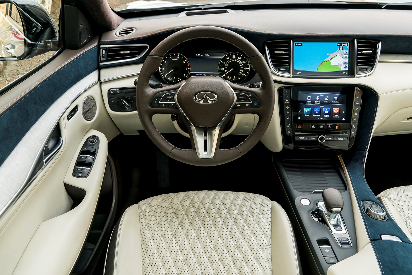 side infiniti rows and leather wheat pin three luxurious seating of in comfort overview interior crossover suv