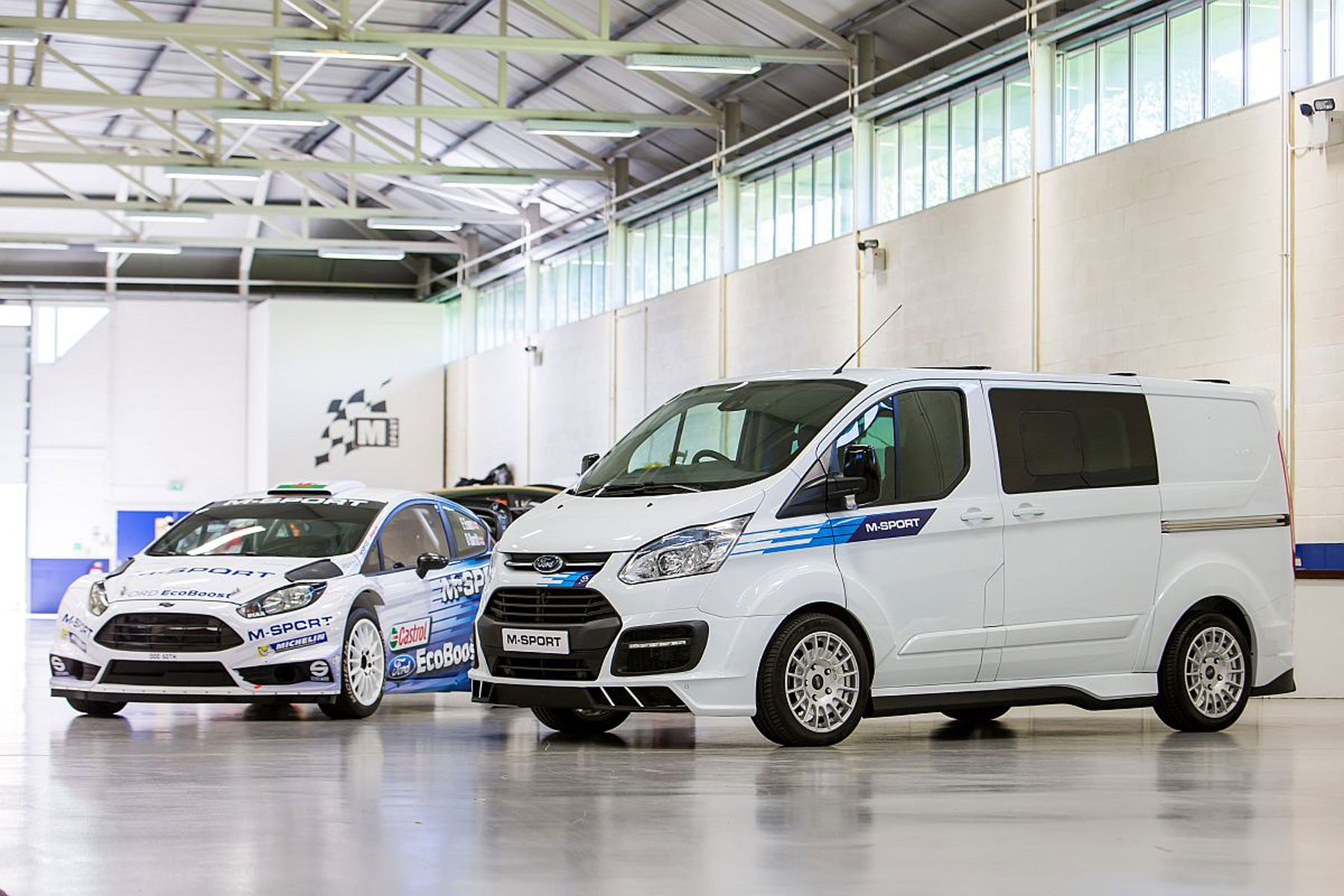 Ford transit custom m sport review with fiesta wrc rally car