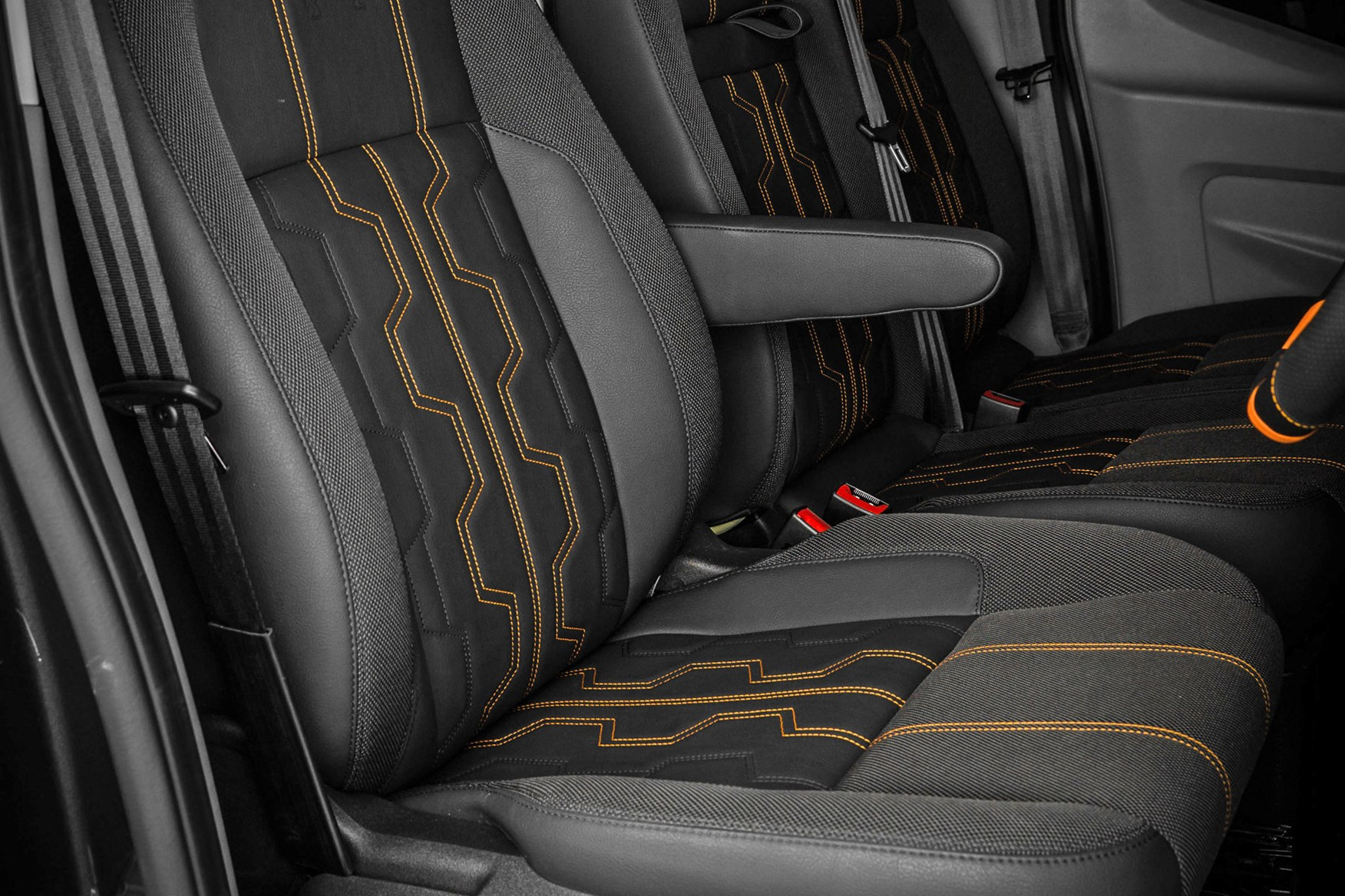 09d5aea9d1 ... Ford Transit Guy Martin Edition review - upgraded seats with orange  detailing ...