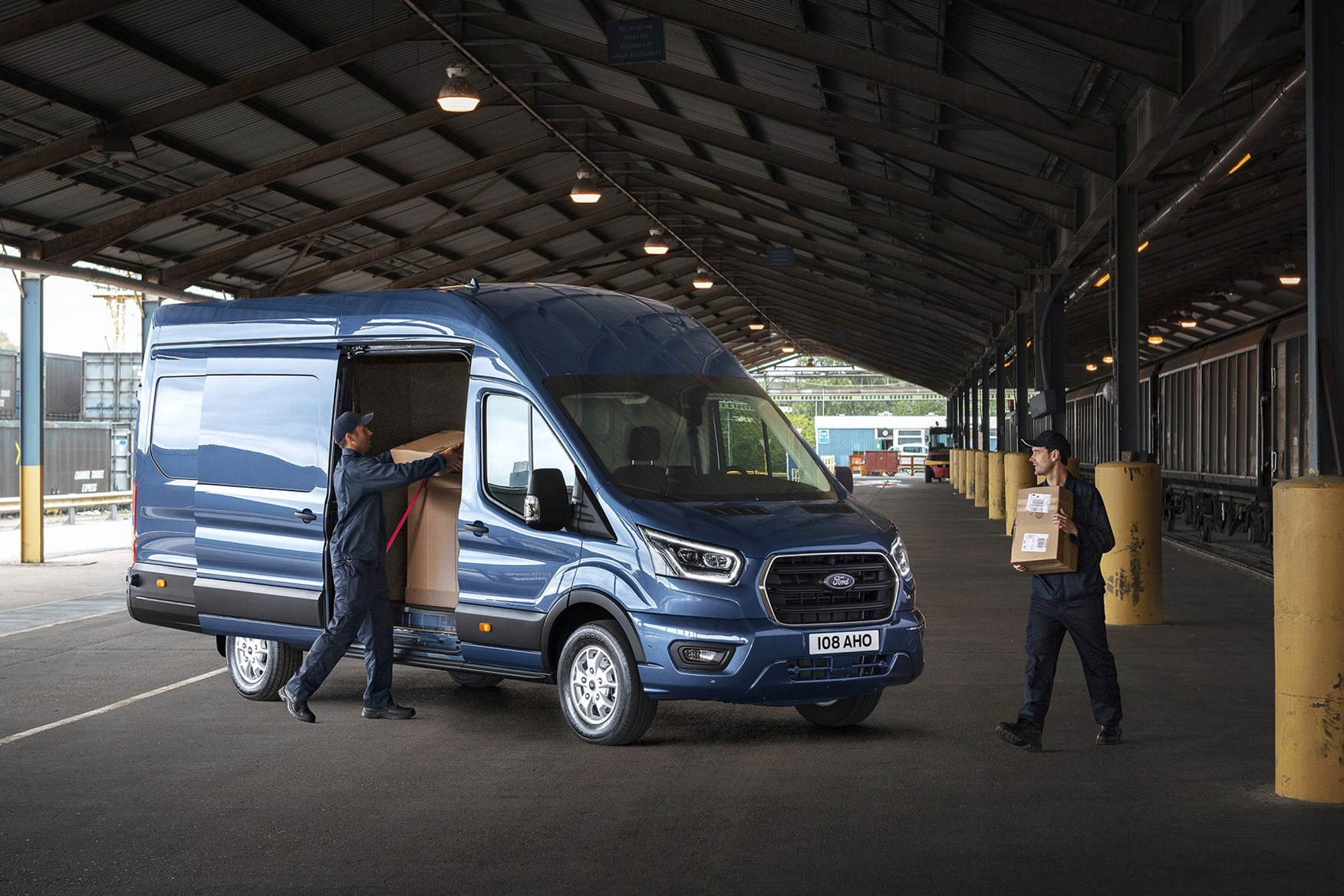 2019 Ford Transit Facelift Front View Being Loaded