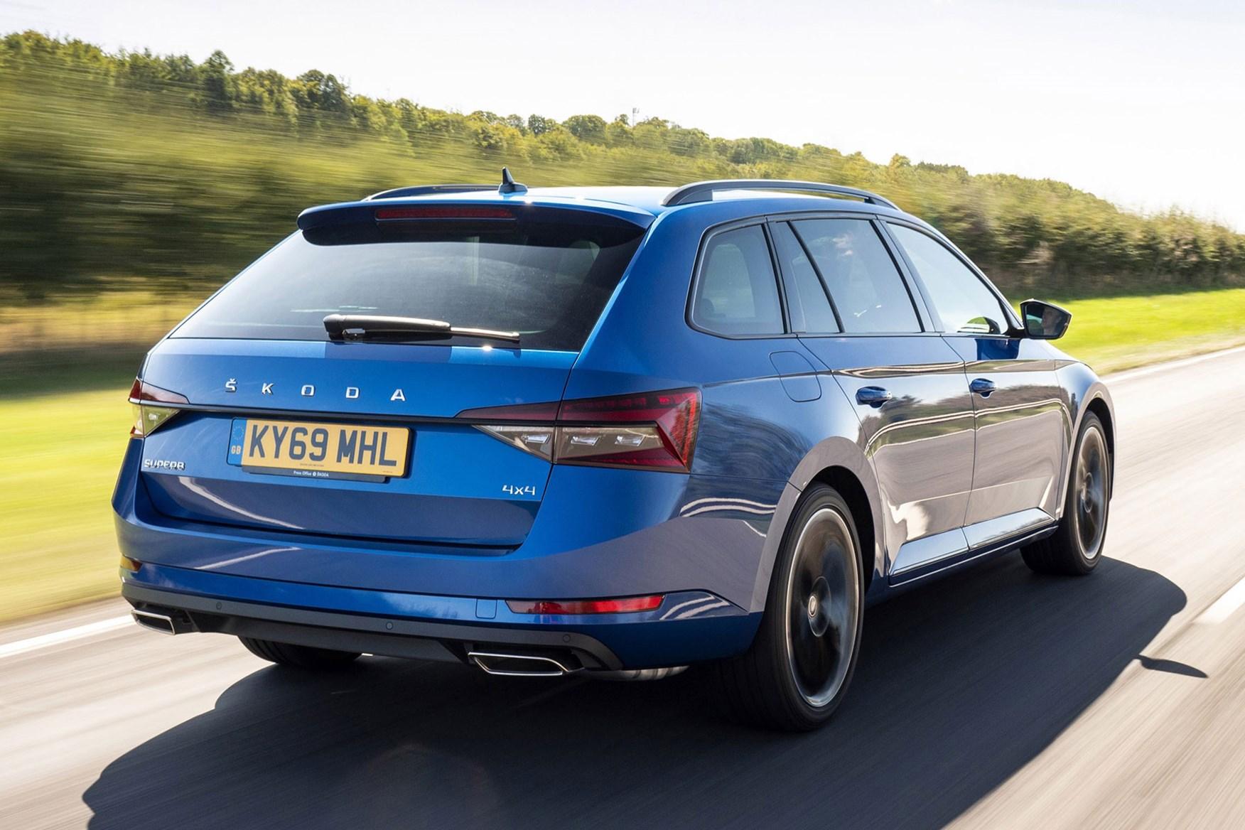 Blue 2019 Skoda Superb Estate rear three-quarter driving