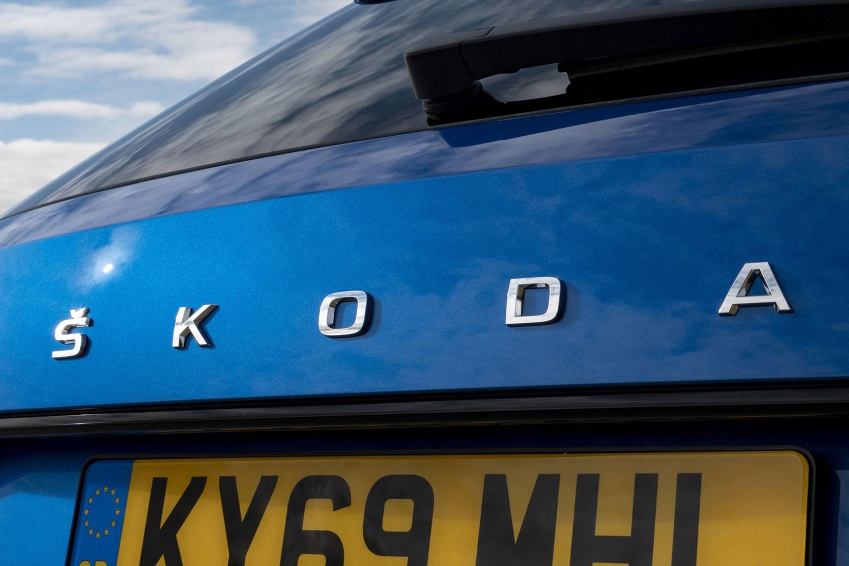 Blue 2019 Skoda Super Estate tailgate badging