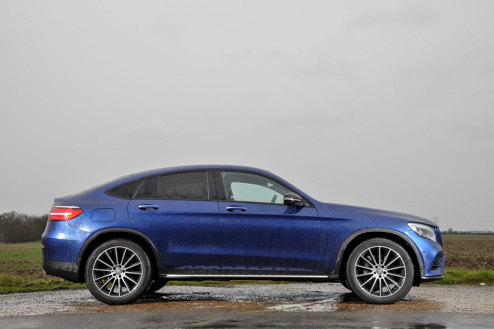 Blue 2018 Mercedes-Benz GLC Coupe side elevation