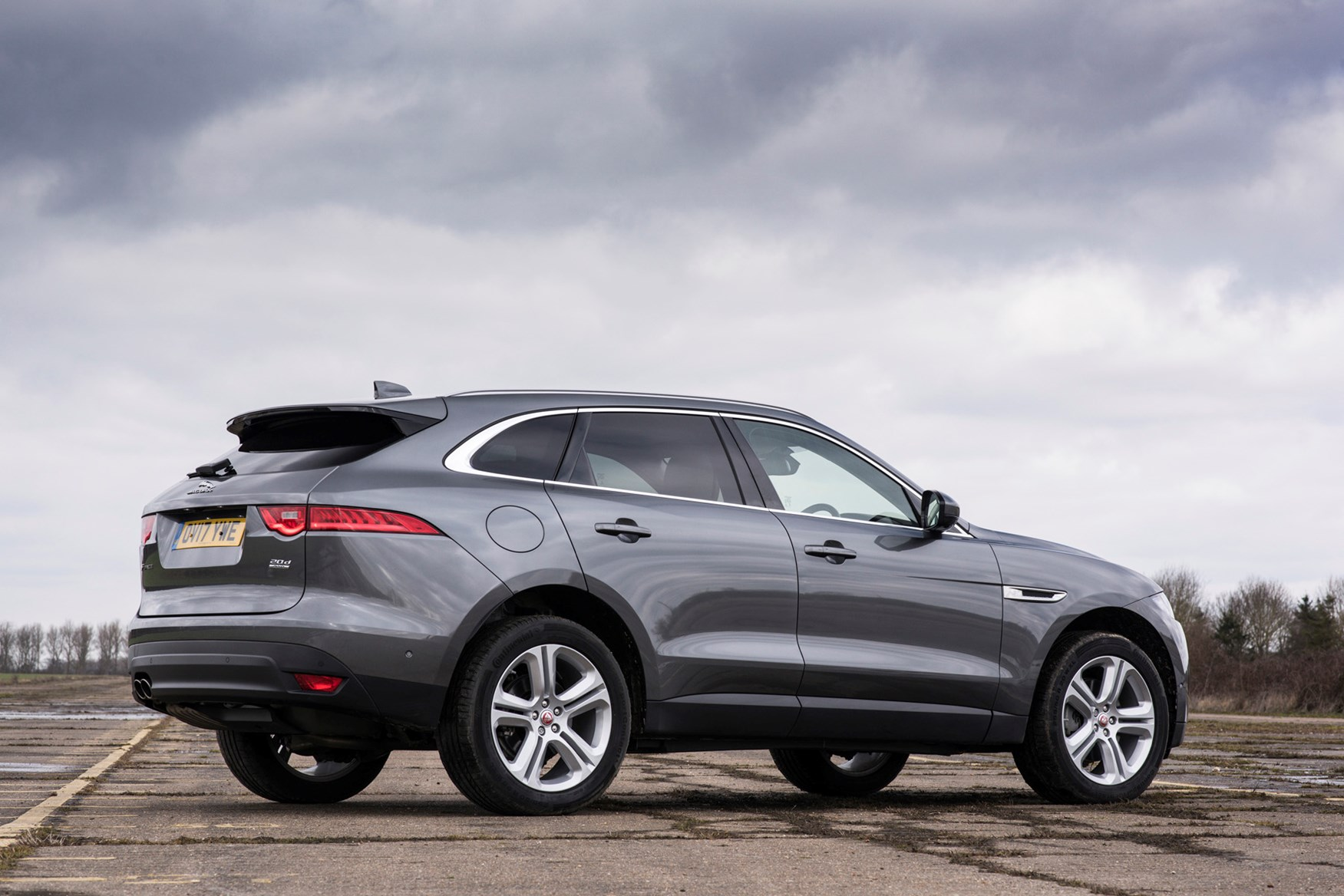 Grey 2017 Jaguar F-Pace SUV rear three-quarter