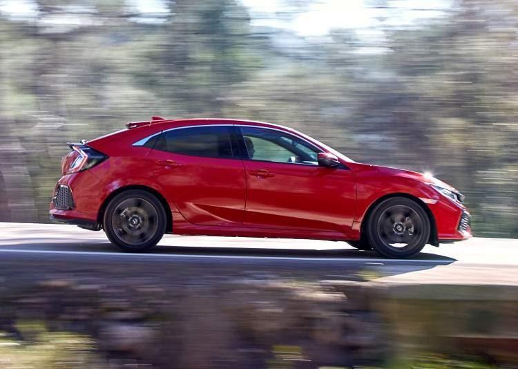 Red 2019 Honda Civic Hatchback side elevation