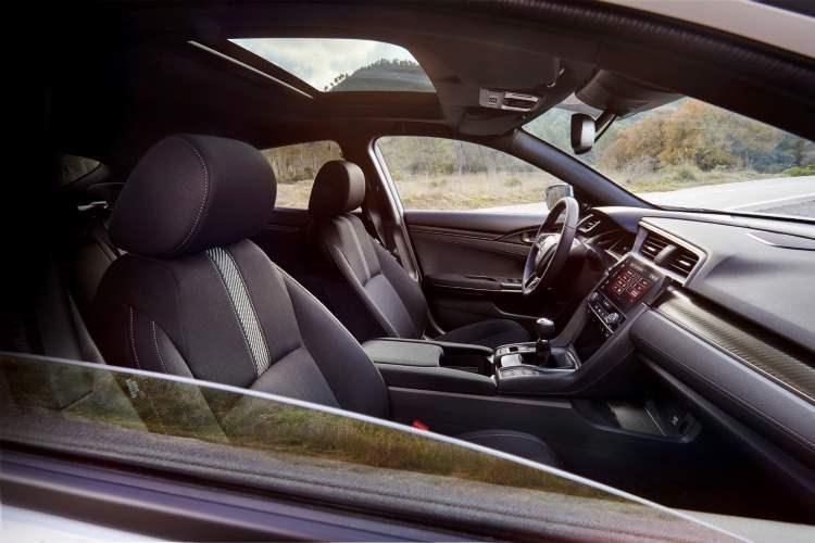 2017 Honda Civic Hatchback dashboard and front seats