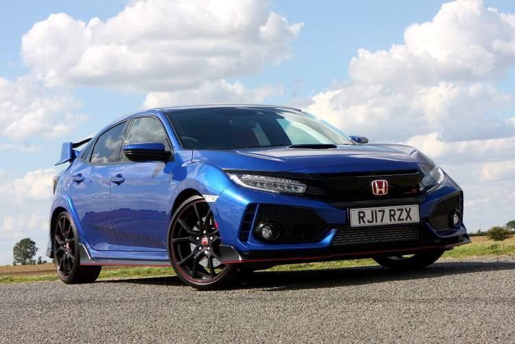Blue 2017 Honda Civic Type R Hatchback front three-quarter