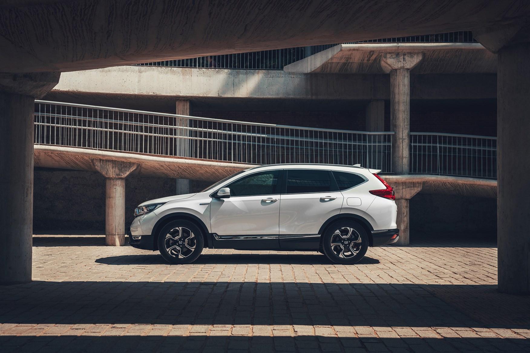 White 2019 Honda CR-V SUV Hybrid side elevation