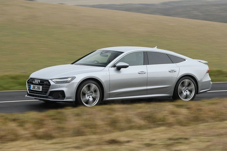 Silver 2019 Audi A7 Sportback front three-quarter driving