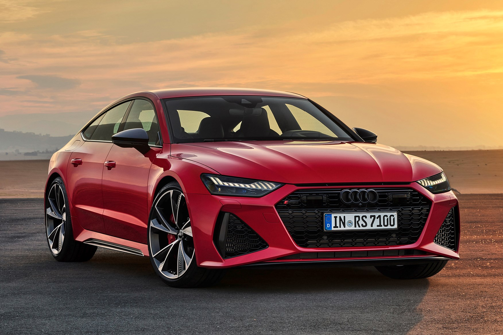 Red 2020 Audi RS 7 Sportback front three-quarter