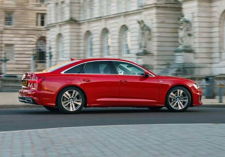 Red 2019 Mk5 Audi A6 Saloon rear three-quarter