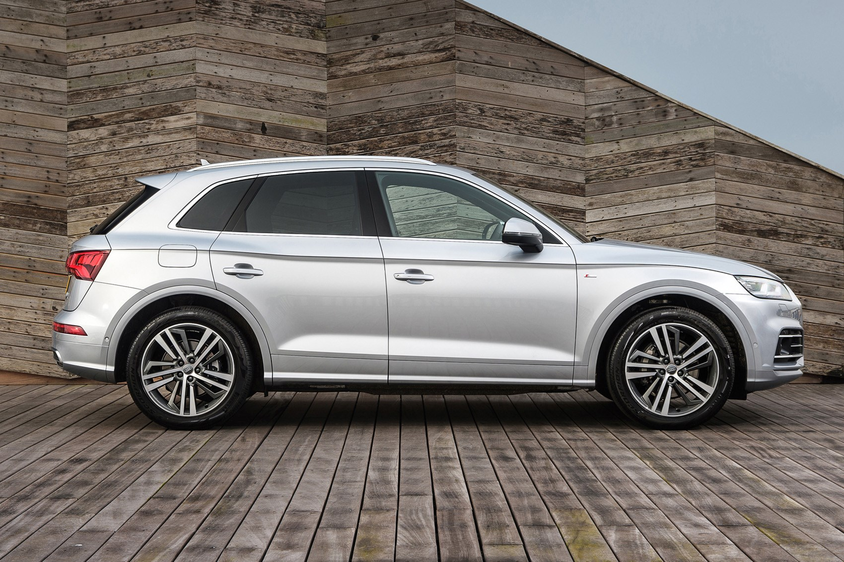 Silver 2019 Audi Q5 SUV side elevation