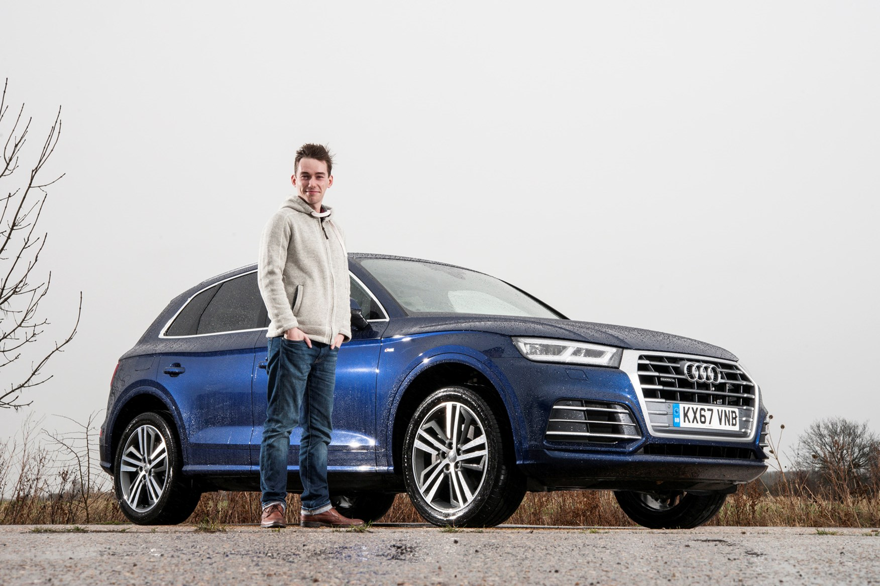 Blue 2017 Audi Q5 SUV with James Dennison