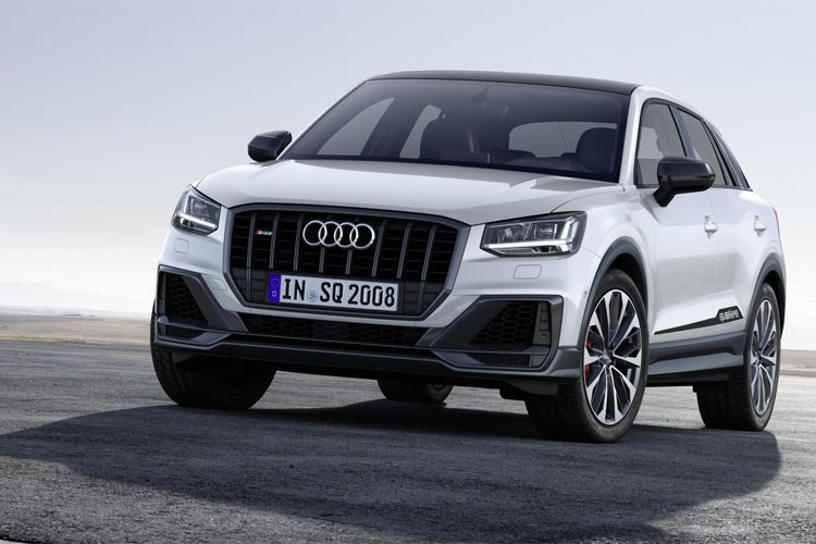 White 2019 Audi SQ2 SUV front three-quarter