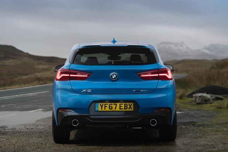 Blue 2017 BMW X2 SUV rear elevation