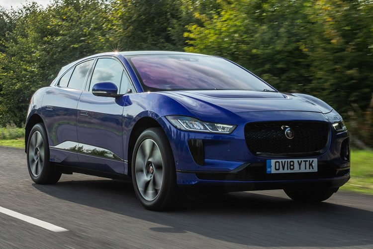 Blue 2019 Jaguar I-Pace moving