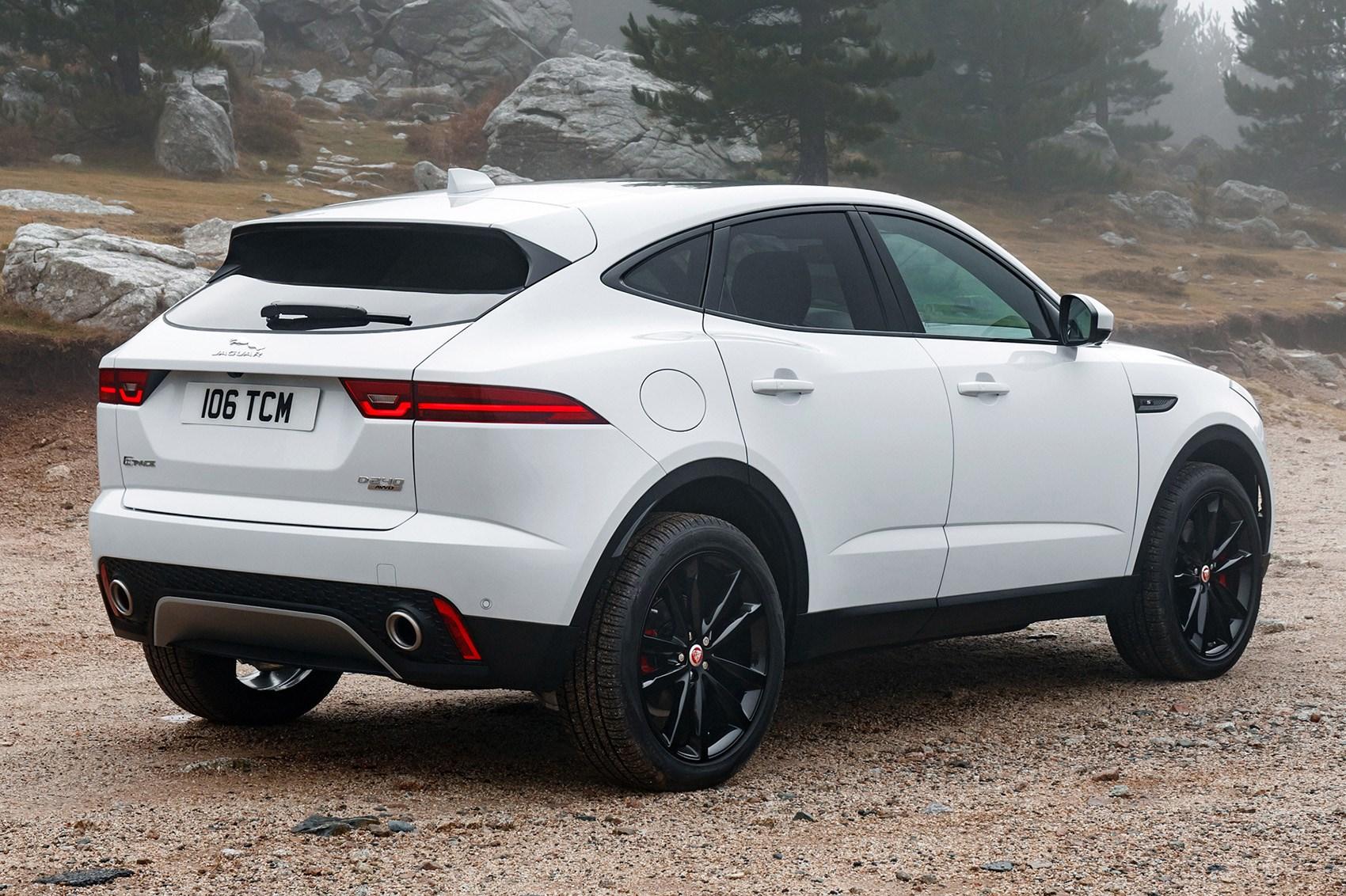 White 2019 Jaguar E-Pace SUV rear three-quarter